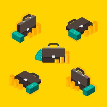Briefcase, Dollar money cash icon, Gold coin stack Isometric & Flat icon vector. Flat style vector illustration.