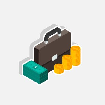 Briefcase, Dollar money cash icon, Gold coin stack right view White Stroke and Shadow icon vector isometric. Flat style vector illustration.
