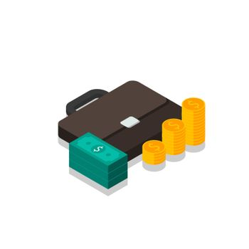 Briefcase, Dollar money cash icon, Gold coin stack right view Shadow icon vector isometric. Flat style vector illustration.
