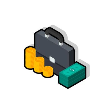 Briefcase, Dollar money cash icon, Gold coin stack left view Black Stroke and Shadow icon vector isometric. Flat style vector illustration.