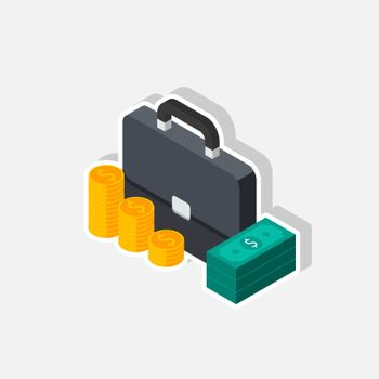 Briefcase, Dollar money cash icon, Gold coin stack left view White Stroke and Shadow icon vector isometric. Flat style vector illustration.