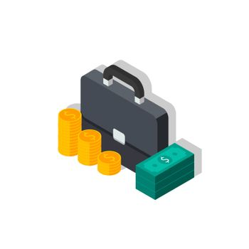 Briefcase, Dollar money cash icon, Gold coin stack left view Shadow icon vector isometric. Flat style vector illustration.