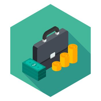 Briefcase, Dollar money cash icon, Gold coin stack right view icon vector isometric. Flat style vector illustration.