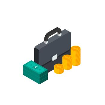 Briefcase, Dollar money cash icon, Gold coin stack right view White Background icon vector isometric. Flat style vector illustration.