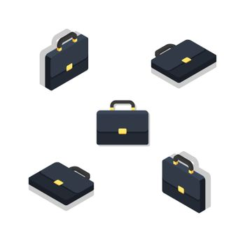 Briefcase Isometric & Flat Shadow. icon vector. Flat style vector illustration.