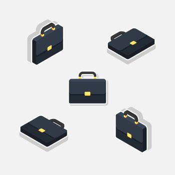 Briefcase Isometric & Flat White Stroke and Shadow icon vector. Flat style vector illustration.
