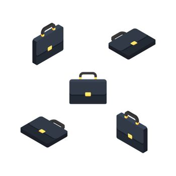 Briefcase Isometric & Flat White Background icon vector. Flat style vector illustration.