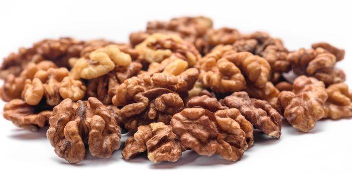 Walnut kernels close up