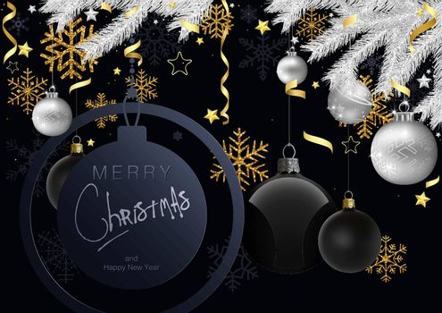 Merry Christmas Greeting Card with Gold and Silver Christmas Ornaments - Black Background Illustration with Silver Spruce Branches and Gold Design Elements, Vector