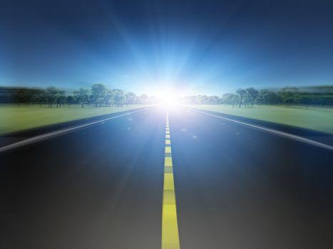 Road in green landscape moving toward light. 3D rendering