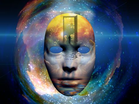 Mask with the image of man and open door to another world at the seashore. Colorful universe on background. 3D rendering