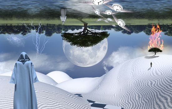 Figure in cloak stands in desert. Burning tree on a sand dune. Figures of man and monk in a distance. Moon reflected in the ocean. Winged clocks represents flow of time. 3D rendering