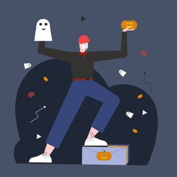 SENDING CONGRATULATIONS to Halloween. Illustration for web page