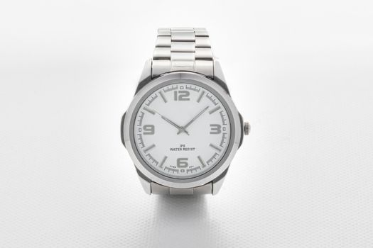 Elegant Classic Silver Wrist Analog Watch on White Background for E-commerce