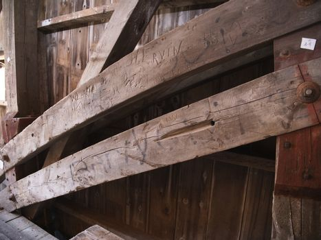 Close Up View of the Burr Arch Truss of a Restored Old 1844 Covered Bridge