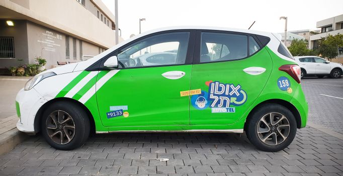 TEL-AVIV - OCTOBER 2020: Auto-Tel city vehicle-sharing service as public traffic ecological solution