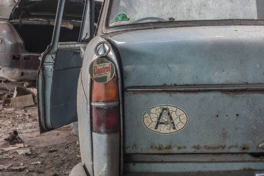 car morris oxford tail light in a workshop