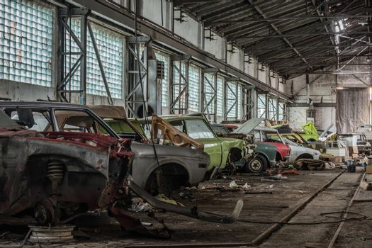 colorful old cars in a row and large hall