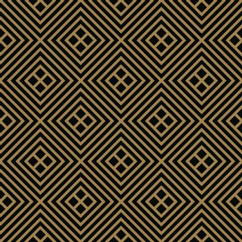 Abstract geometric pattern with lines, rhombuses A seamless vector background. black and gold texture