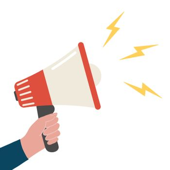 Loudspeaker. Hand with megaphone. Attention or refer a friend concept. Promotion flat cartoon template