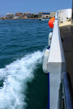 Boat Approaching the coast of Santa Pola, Alicante, Spain