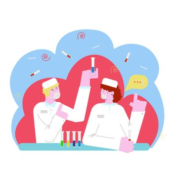 Coronavirus antivirus medical research vector illustration, people, doctors, team working in a science laboratory. A man, a woman doctor and a group of scientists are trying to invent an antiviral vaccine for the coronavirus