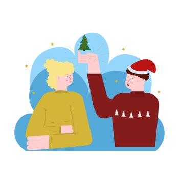 Happy new year and merry Christmas. Vector flat illustration. man and woman. Sympathy, love, friendship, relationship, smile.