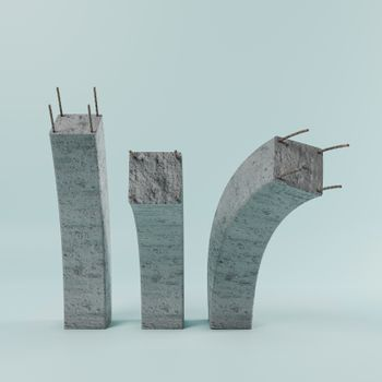 reinforced concrete columns isolated on blue backgrond 3d illustration