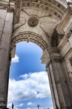 Beautiful dome of Arco da Rua Augusta in Lisbon