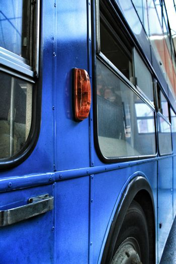Lisbon, Portugal- June 15, 2018: Old and blue colorful passenger bus at an exhibition.