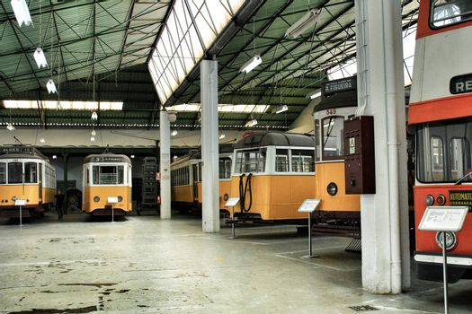 Lisbon, Portugal- June 14, 2018:Old and colorful vintage trams in a museum in Lisbon