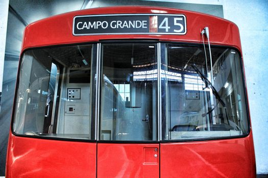 Reproduction of red subway cabin in Lisbon