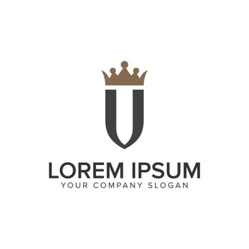 letter U with crown luxury logo design concept template.