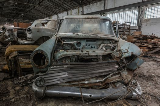 demolished old car front view