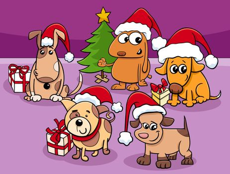 Cartoon Illustration of Dogs and Puppies Animal Characters Group on Christmas Time