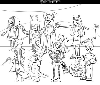 Black and White Cartoon Illustration of Characters Group at the Halloween Party Coloring Book Page