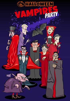 Cartoon Illustration of Halloween Holiday Vampire Party Poster or Invitation Design