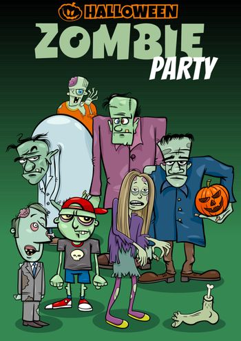 Cartoon Illustration of Halloween Holiday Zombie Party Poster or Invitation Design