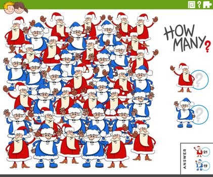 Illustration of Educational Counting Game for Children with Cartoon Santa Claus Characters