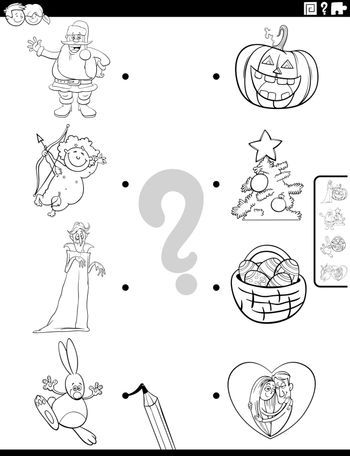 Black and White Cartoon Illustration of Educational Matching Game for Children with Holidays Characters and Symbols Coloring Book Page