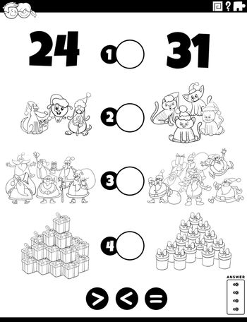 Black and White Cartoon Illustration of Educational Mathematical Puzzle Game of Greater Than, Less Than or Equal to for Children with Christmas Characters and Objects Worksheet Page Coloring Book Page
