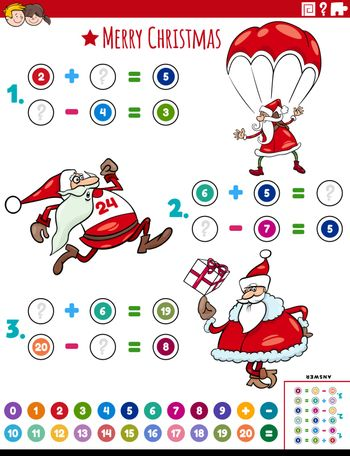Cartoon Illustration of Educational Mathematical Addition and Subtraction Puzzle Task with Santa Christmas Characters