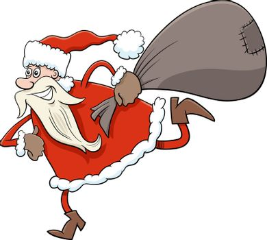 Cartoon Illustration of Running Santa Claus Christmas Character with Sack of Presents