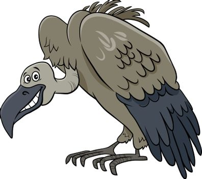 Cartoon Illustration of Vulture Bird Wild Animal Character