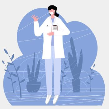 Female doctor shows gesture everything is ok, isolated on white background vector illustration in flat style for web pages and mailing