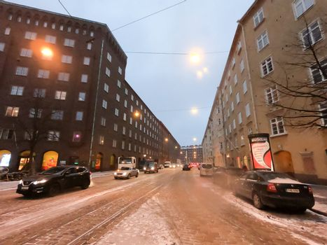 Editorial: Helsinki, Finland, 17th Mar 2020. The road and nature park during covid-19 pandemic social distancing isolation in Helsinki, Finland