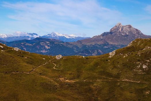 Beautiful view of the Dolomites in Italy in the fall. Selective focus