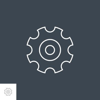 Gear Related Vector Line Icon. Isolated on Black Background. Editable Stroke.