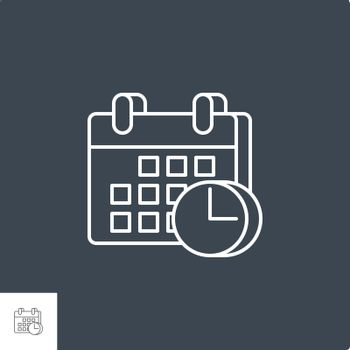 Calendar with Clock Icon. Calendar with Clock Related Vector Line Icon. Isolated on Black Background. Editable Stroke.