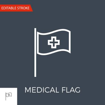 Medical Flag Thin Line Vector Icon. Flat Icon Isolated on the Black Background. Editable Stroke EPS file. Vector illustration.